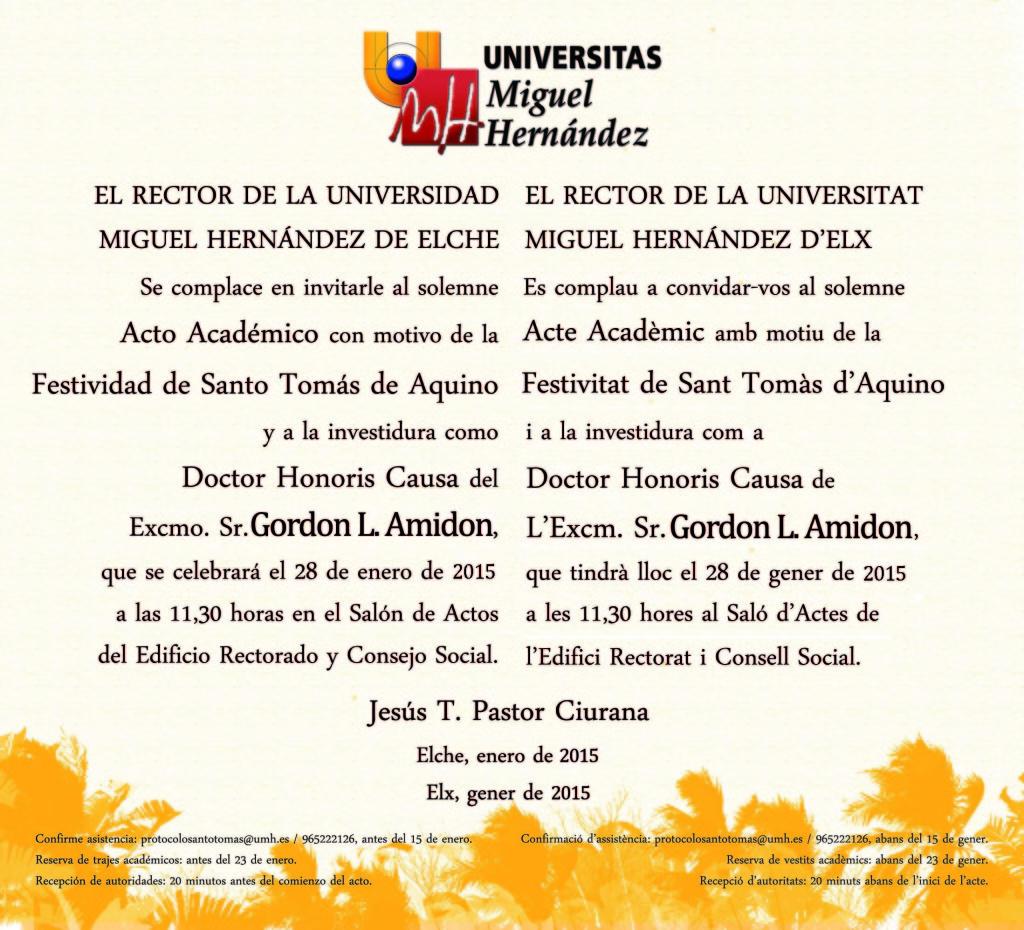 Invitación Santo Tomás de Aquino 2015